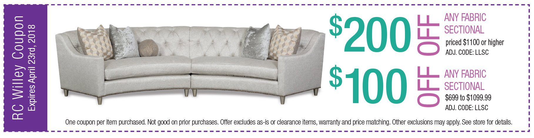 $200 off any fabric sectional $1100 or higher. $100 off any leather sectional $999 to $1099.99