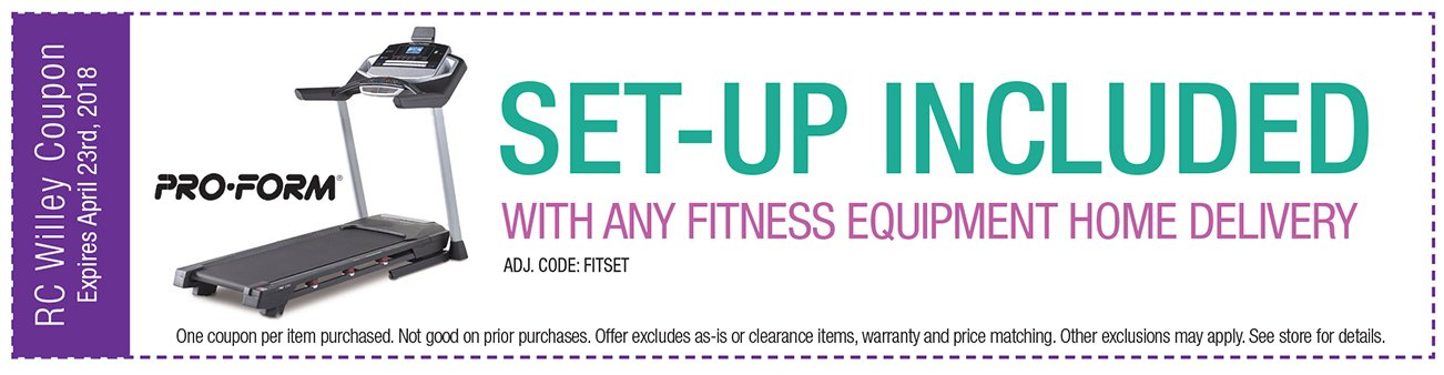 Set-up included with any Proform fitness equipment Home Delivery