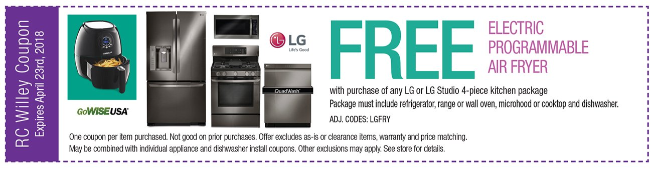 Free Air Fryer with purchase of any LG Studio 4-piece kitchen package. Must include, fridge, range or wall oven, microhood or cooktop and dishwasher