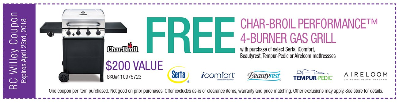 Free Charbroil grill with purchae of select Serta, iComfort, Beautyrest, Tempur-Pedic or Aireloom mattresses