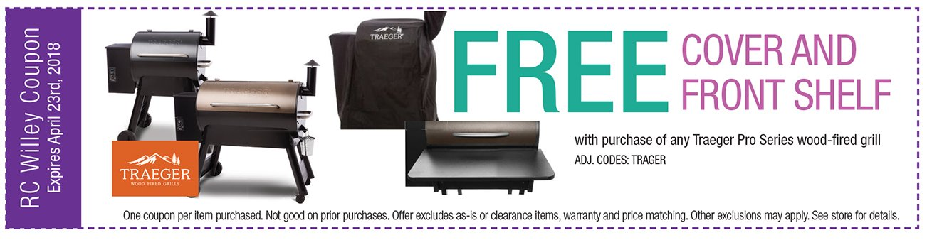 Free Cover and Front Shelf with purchase of any Traeger Pro Series wood-fired grill