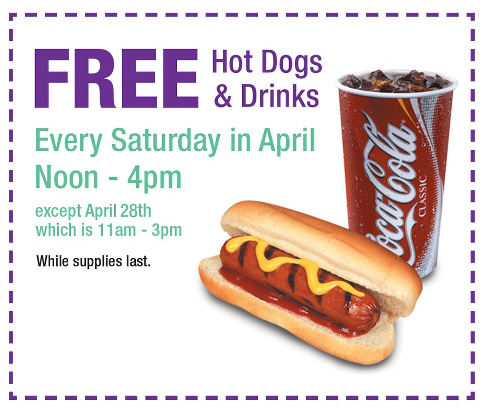 Free Hot Dogs and Drinks in-store Every Saturday at RC Willey