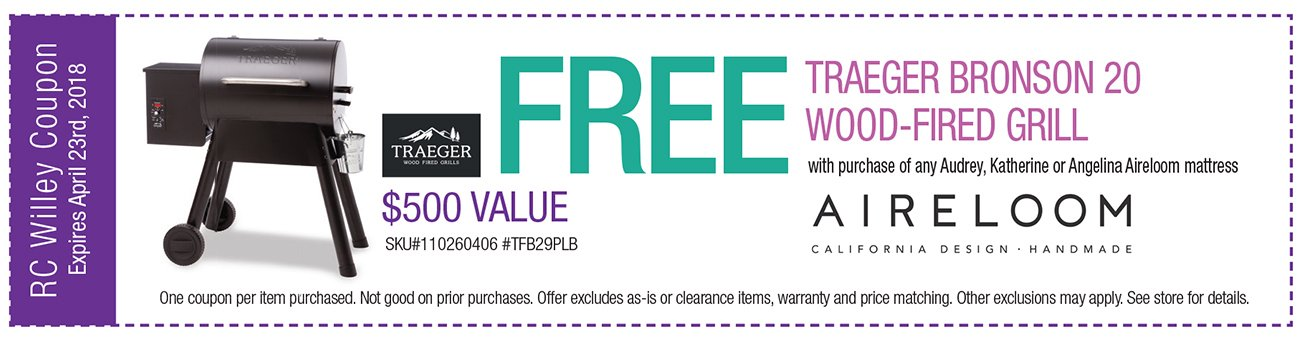 Free Traeger Bronson 20 Wood Fired Grill with purchase of any Audrey, Katherine or Angelina Aireloom mattress.