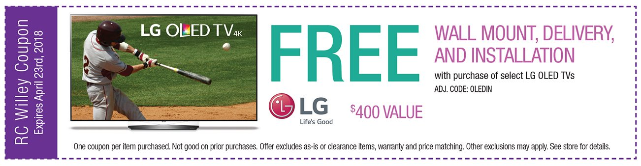 Free wall mount, delivery and installation with purchase of select LG OLED TVs