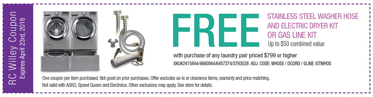 Free Washer Hose and Dryer Kit with purcahse of laundry pair $799 or higher