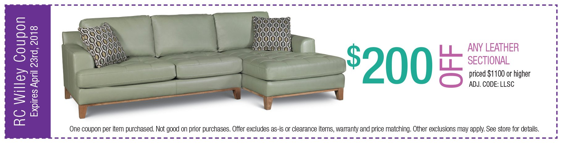 $200 off any leather sectional $1100 or higher