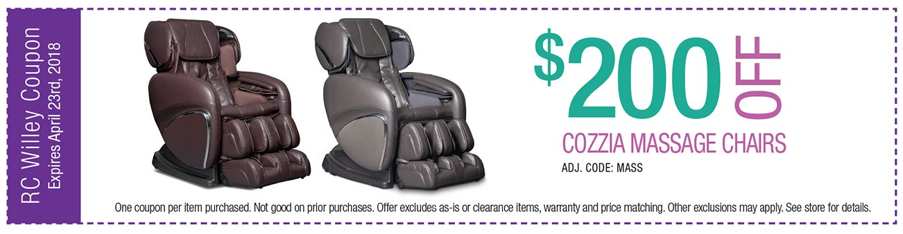200 off any Cozzia Massage chairs