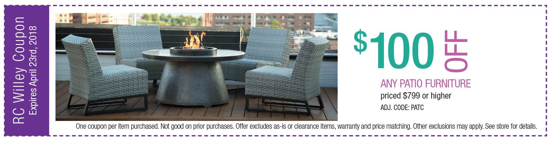 $100 off Patio Furniture $799 or higher
