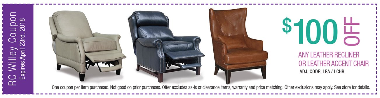 $100 off any leather reclining chair