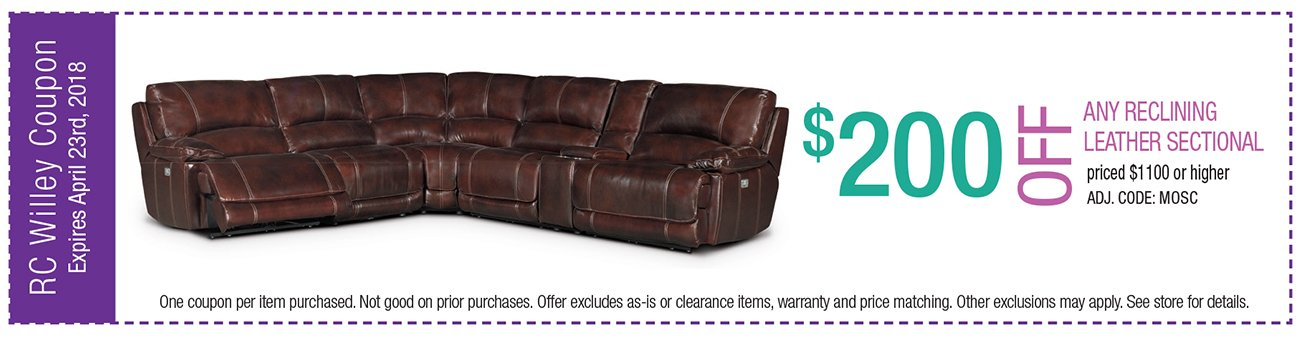 $200 off any leather reclining sectional $1100 or higher. $100 off any leather reclining sectional $999 - $1099.99