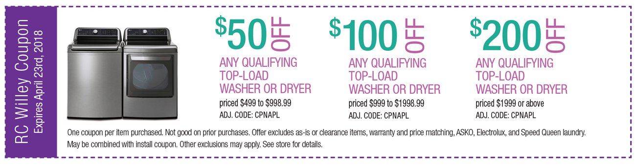 up to $200 off any qualifying top load Washer or Dryer