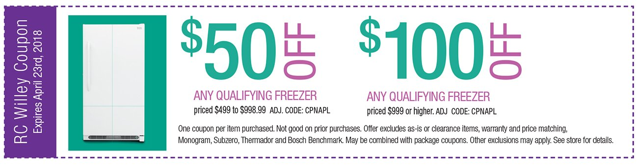 up to $100 off any qualifying Freezer