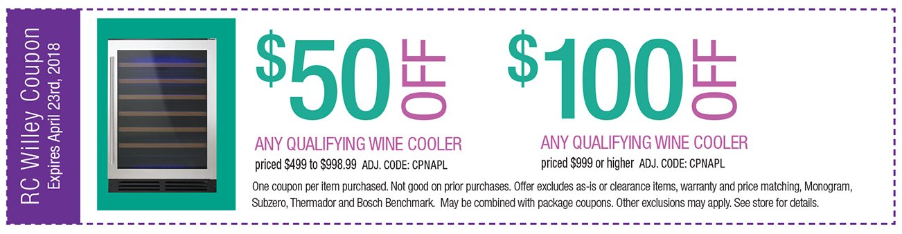 Up to $100 off any qualifying wine cooler