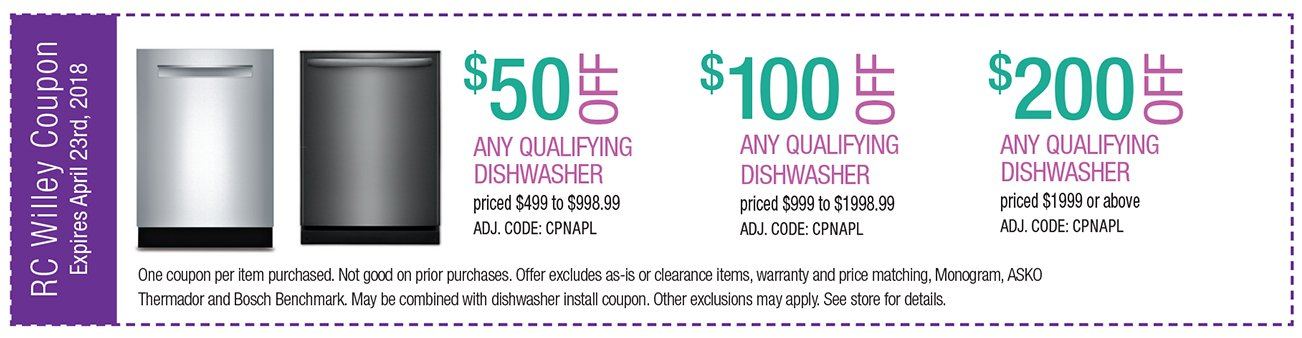 Up to $200 off any qualifying dishwasher $1999 or above