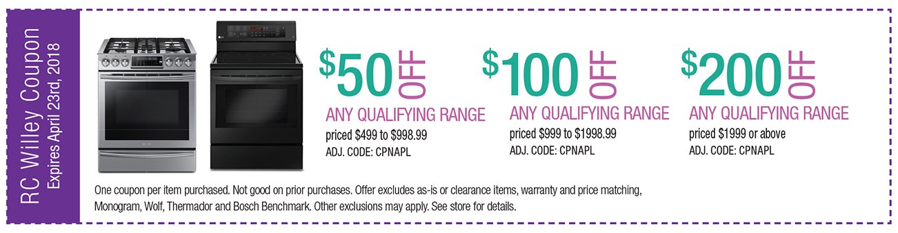 up to $200 off any qualifying range priced $1999 and up