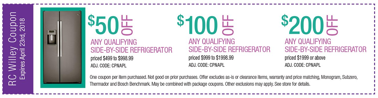 up to $200 off any qualifying side by side refrigerator