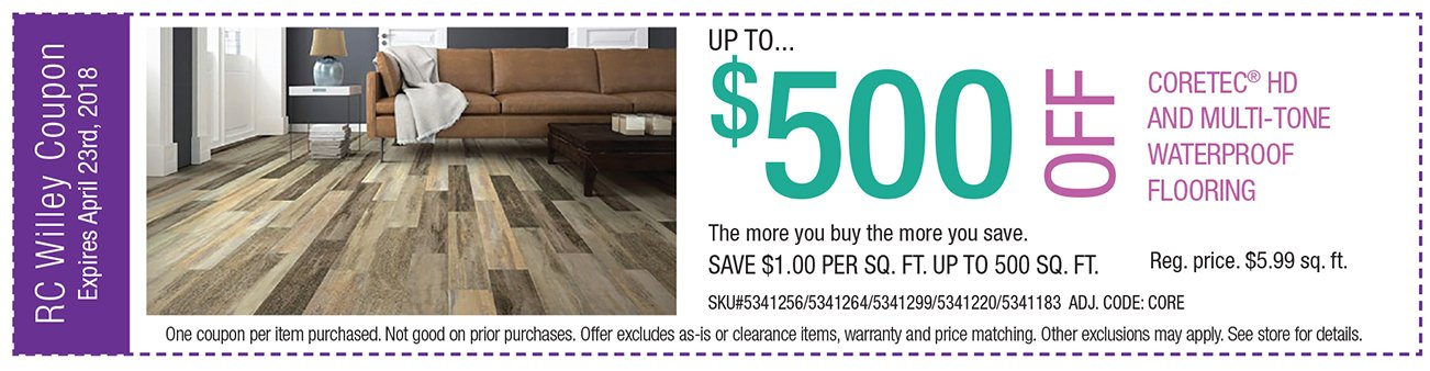 up to $500 off cortec HD and Multi-tone waterproof flooring