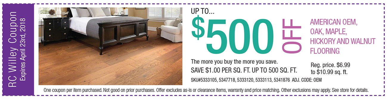up to $500 off American OEM, Oak, Maple, Hickory and Walnut Flooring. The more you buy the more you save.