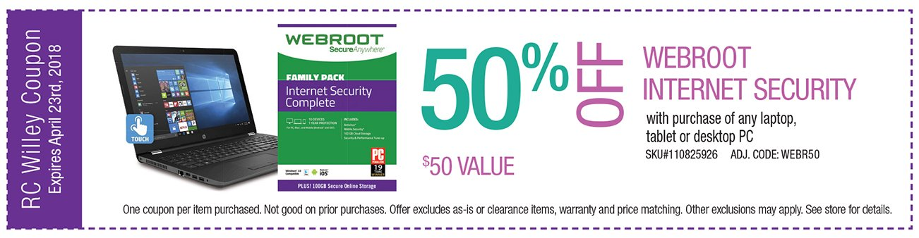 50% off Webroot Internet Security with purchase of any laptop, tablet or desktop PC