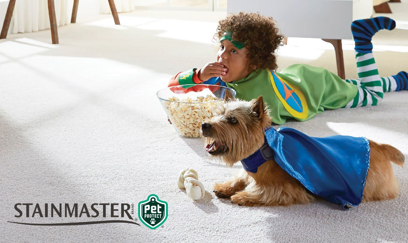 Stainmaster Girl and Dog on Carpet