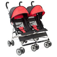 Double Scarlet Red/Black Side-by-Side Umbrella Stroller - Cloud