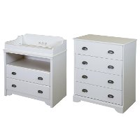 9023A2 White Changing Table and 4-Drawer Chest - Fundy Tide
