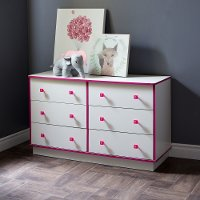 9039027 White and Pink 6-Drawer Double Dresser - Logik