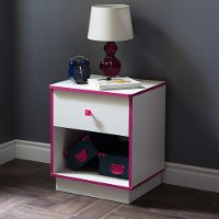9039062 White and Pink 1-Drawer Nightstand - Logik