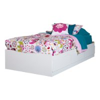 10055 White Twin Mates Bed - Logik