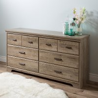 9066010 Weathered Oak 6-Drawer Double Dresser - Versa