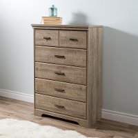 9066035 Casual Contemporary Weathered Oak 5-Drawer Chest - Versa
