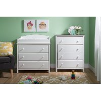 10058 White Changing Table and 4-Drawer Chest -Cotton Candy