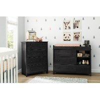 10060 Gray Oak Changing Table and 4-Drawer Chest - Little Smileys