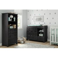 10061 Little Smileys Gray Oak Changing Table With Shelving Unit ...