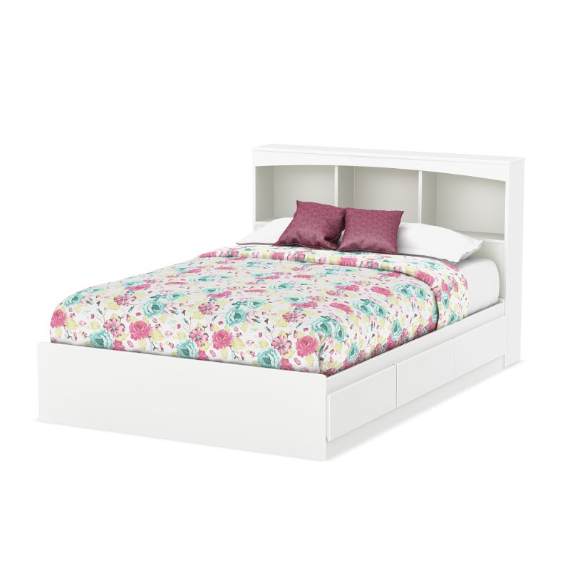 White Mates Full Size Bed With Bookcase Headboard Step One Rc Willey Furniture