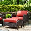 KO70032BR Wicker Patio Chair and Ottoman in Sangria - Kiawah