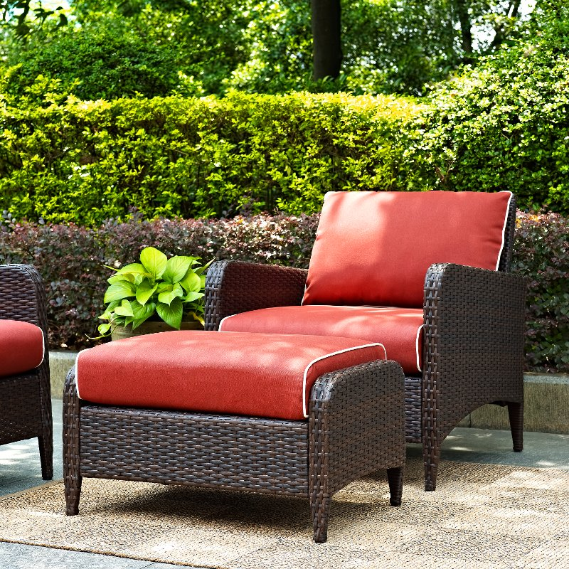 Wicker Patio Chair And Ottoman In Sangria Kiawah Rc Willey Furniture