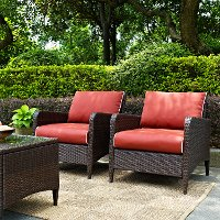 KO70030BR Outdoor Wicker Patio Chairs in Sangria  (Set of 2) - Kiawah