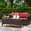 KO70029BR 2 Piece Wicker Patio Furniture Loveseat and Table in Sangria  - Kiawah