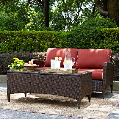 ko70029br kiawah sangria 2 piece outdoor wicker loveseat and table