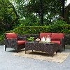 KO70031BR 3 Piece Wicker Patio Furniture Set - Loveseat, Arm Chair and Table in Sangria  - Kiawah