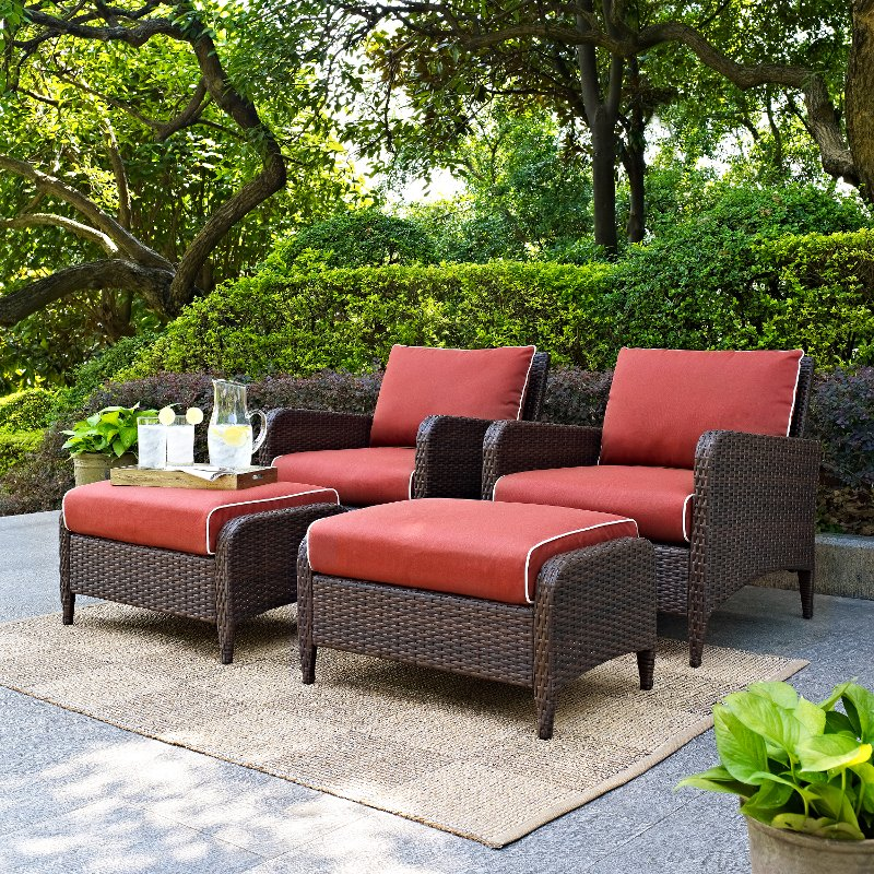 4 piece wicker patio chair and ottoman in sangria   kiawah  rcwilley image1~800