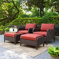 Kiawah Sangria 4 Piece Outdoor Wicker Chair And Ottoman