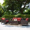 KO70028BR 4-Piece Wicker Patio Furniture  Set - Loveseat, Arm Chairs and Table in Sangria  - Kiawah