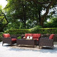 KO70028BR 4 Piece Wicker Patio Furniture  Set - Loveseat, Arm Chairs and Table in Sangria  - Kiawah