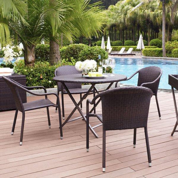 Ko70012br Dark Brown 5 Piece Wicker Furniture Set Palm Harbor