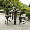 KO70010BR Brown 5 Piece Counter Height Wicker Patio Dining Set - Palm Harbor