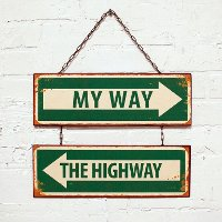 Metal Antique White and Green My Way Hanging Sign