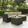 KO70011BR Palm Harbor Tan/Dark Brown 5-Piece Outdoor Wicker Sectional
