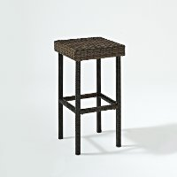 CO7108-BR Dark Brown 29 Inch Wicker Bar Stools (Set of 2) - Palm Harbor